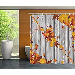 Fall Maple Leafs Tree Diagonal Leaves Foliage Rustic Wooden Planks Home Bathroom Valentines Day Him Print Polyester Fabric Yellow Orange Decorative Seasonal Theme Shower Curtain - Machine Washable