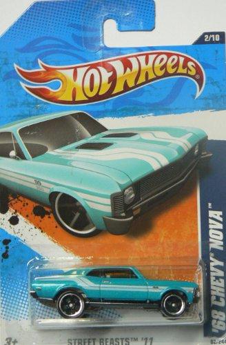 Hot Wheels Street Beasts '11 2/10 Collector#82/244 '68 Chevy Nova Blue - 1