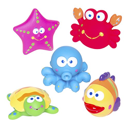 Elegant Baby Bath Time Fun Rubber Water Squirtie Toys in Vinyl Giftable Bag, Lagoon Party