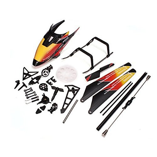 Foxnovo Replacement WLtoys V913 2.4GHz 4CH RC Helicopter Spare Parts Accessories Kit Set Canopy Blades Landing Skid Gear (Orange) (V913 Replacement Parts compare prices)
