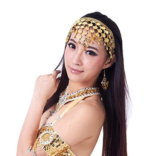 AvaCostume Belly Dance Headband Tribal Coined Headband Gypsy Jewelry, Gold