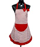 Hyzrz Hot Lovely Lady Cheap Red Dot Kitchen Flirty Canvas Restaurant Cake Apron for Women Chef Bib Funny