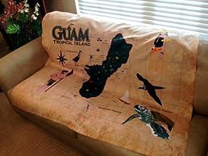 Guam Tropical Island Map Jersey Blanket - 49x58 Inches - Medium