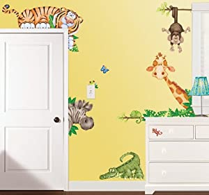 Amazon.com: In The Jungle Wildlife Animal Stickers Wall ...