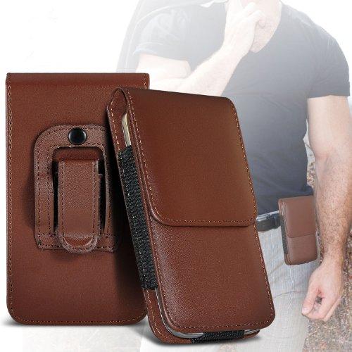 (Brown) Samsung Rex 60 Schutz PU-Leder Gürtelholster Pouch Tasche Halter By ONX3