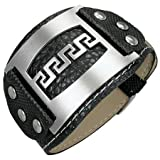 New Mens Black Cuff Style Pvc Bracelet with Stainless Steel Greek key Design, Length 22cms.