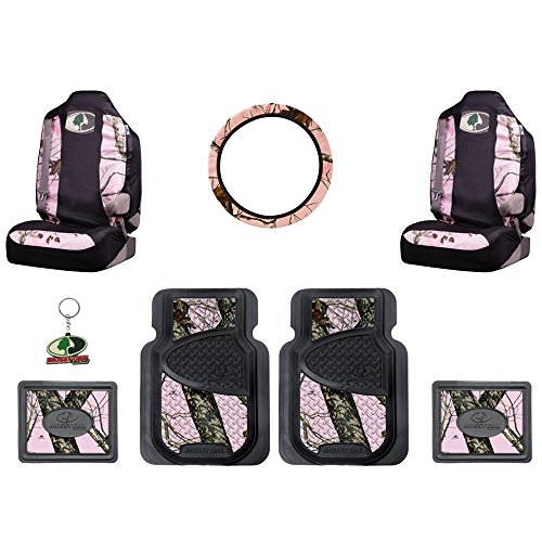 Mossy Oak Infinity Pink Camo Print Car Truck SUV Front & Rear Seat Heavy Duty Trim-to-Fit Rubber Floor Mats Universal-fit Front Bucket Seat Covers Steering Wheel Cover Key Chain - 8PC (Pink Camo Seat Covers Set For Suv compare prices)