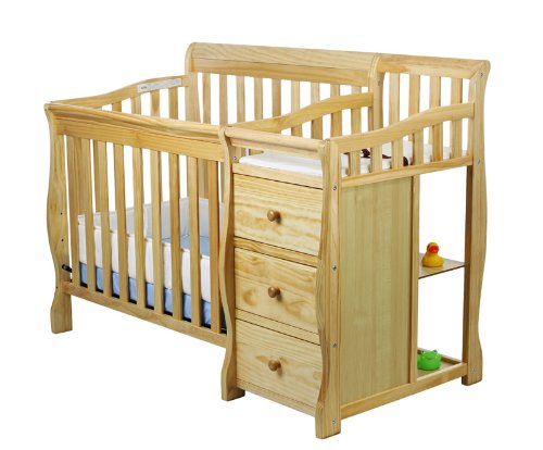 Dream On Me Jayden 2 in 1 Convertible Portable Crib with Changer, Natural
