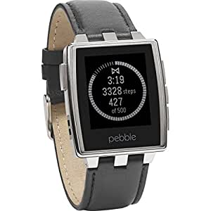 Pebble Steel Smart Watch for iPhone and Android Devices (Brushed Stainless) with Leather Band