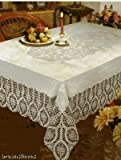 """Better Homes New Crochet Vinyl Lace Tablecloth, 60"""" Wide X 90"""" Long Oblong, White"""