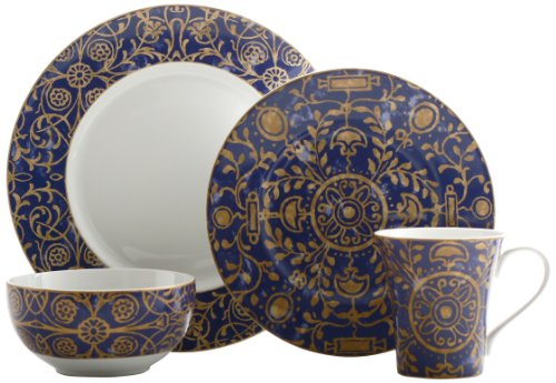 222 Fifth Pilar 16-Piece Dinnerware Set, Blue
