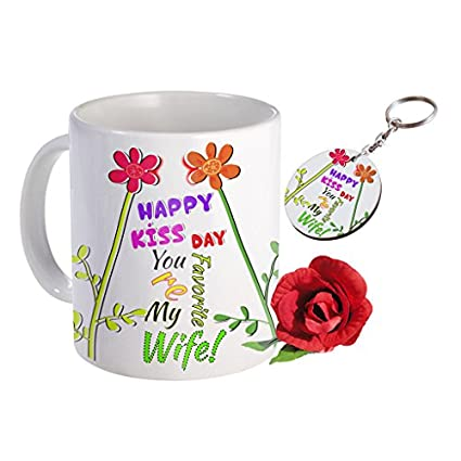 Sky Trends Valentine Combo Gift For Wife Printed Coffee Mug Keychain Artificial Rose Gift For Kiss Day Propose day Promise Day Hug Day Rose Day Gifts