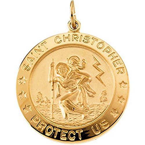 25.00 mm St. Christopher Medal with 24 inch Chain in Yellow