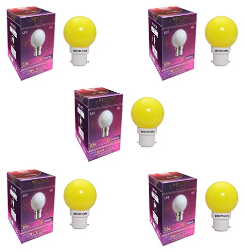 0.5W LED Bulb (Yellow, Pack of 5)