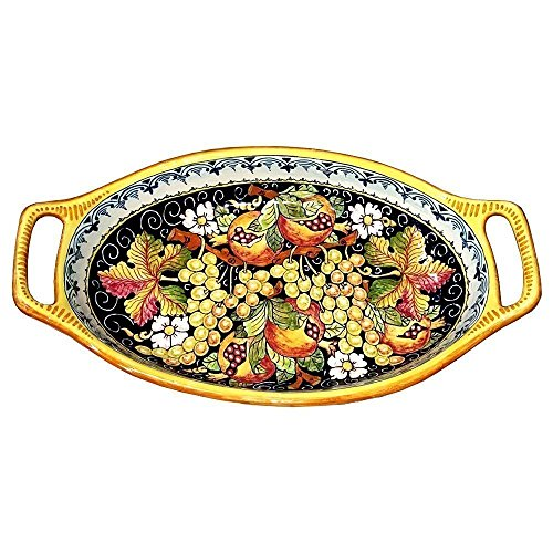 CERAMICHE D'ARTE PARRINI - Italian Ceramic Centerpiece Bowl Grape Hand Painted Made in ITALY Tuscan Art Pottery (Centerpieces With Grapes compare prices)