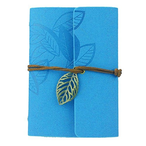 OULII Vintage Leaves PU Cover Loose-leaf String Bound Blank Notebook Notepad Diary