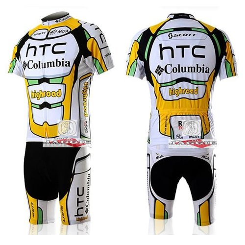 CoIumbia-HTC team Bib Short Sleeve Cycling Jerseys Wear Clothes Bicycle/ Bike/ Riding Jerseys + Bib Pants Shorts Size L