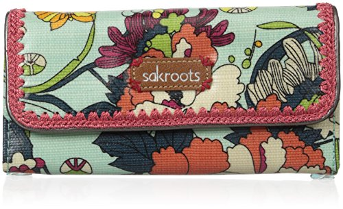 Sakroots Artist Circle Trifold Wallet, Seafoam Flower Power, One Size