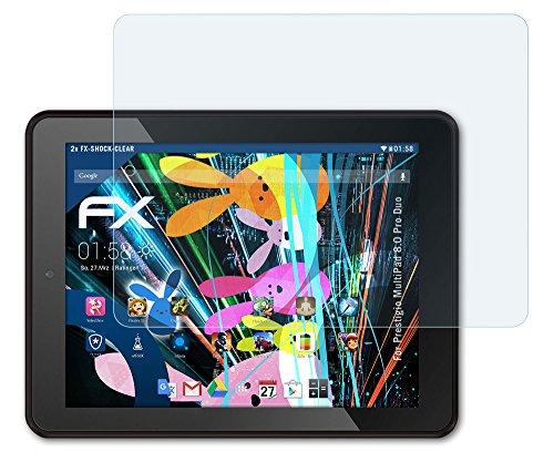 2 x atFoliX Panzerfolie Prestigio MultiPad 8.0 Pro Duo Folie - FX-Shock-Clear ultraklar und stoßabsorbierend