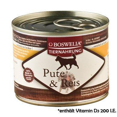 Artikelbild: ( 0.74 Euro pro 100g ) Boswelia Tiernahrung Pute und Reis Nassfutter für Hunde 200g