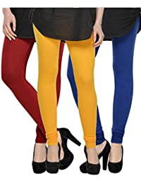Kjaggs Women's Cotton Lycra Regular Fit Leggings Combo - Pack Of 3 (KTL-TP-5-6-14, Yellow, Maroon, Dark, Blue)