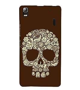 Flower and Leaves Skull 3D Hard Polycarbonate Designer Back Case Cover for Lenovo K3 Note :: Lenovo A7000 Turbo