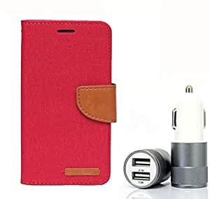 Aart Fancy Wallet Dairy Jeans Flip Case Cover for SamsungA5 (Red) + Dual USB Port Car Charger with Smartest & Fastest Technology by Aart Store.