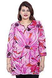 LIWC243_4XL_Pink Floral Print 3/4th Sleeve Tunic