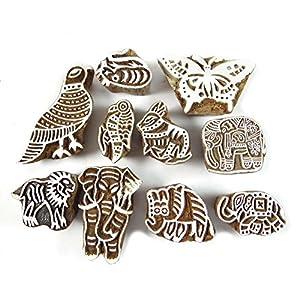 Sculpté à la main Impression Indien Bloquer Lot de 10 pièces en bois Textile Stamp impression de bloc
