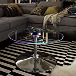 INSPIRE Q Lorin Cool Round Glass Coffee Table - Cocktail Table - Modern LED Accent Table