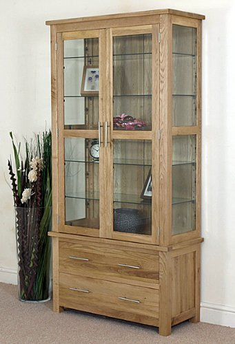 OSLO SOLID OAK AND GLASS DISPLAY CABINET