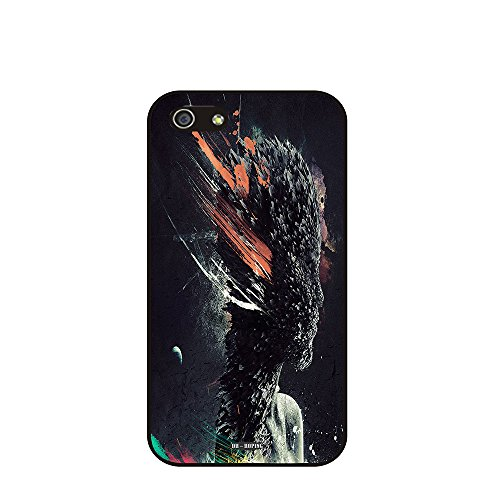 Dh-Hoping (Tm) Cell Phone Case For Personalizatied Custom Picture Iphone 5C Inch High Impackt Combo Soft Silicon Rubber Hybrid Hard Pc & Metal Aluminum Protective Case With Customizatied Skull Black Art Retro Style Luxurious Pattern (Aliens-02)