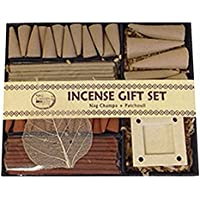 Patchouli + Nag Champa Aromatherapy Incense Gift Set 40 Sticks & 29 Cones & Ceramic Holder