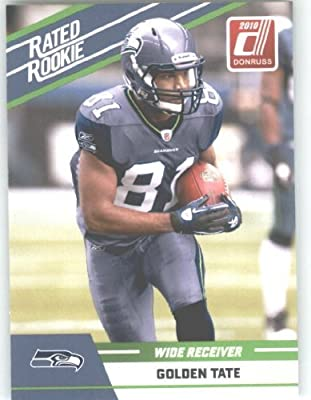 2010 Donruss Rated Rookies Football Card #42 Golden Tate - Seattle Seahawks (RC - Rookie Card) NFL Trading Card
