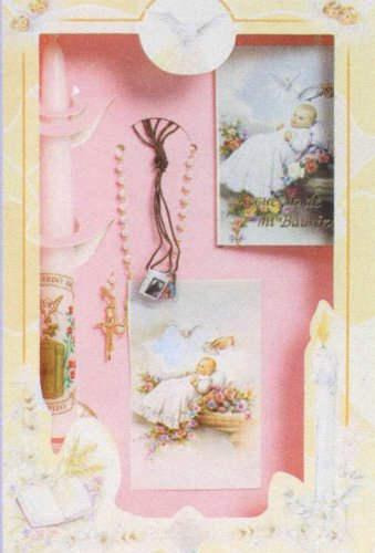 Baptism Gift Sets - Missal - Sculptured Candle - Rosary - Hanky - Shell - Gift Box 11.5in.x7.5in. - ENGLISH, Boy
