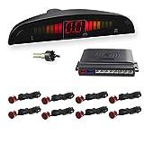 WIKOOL 高性能 バックセンサー 12V車用 パーキングセンサー アラーム モニター付き 8個センサー(22MM) 1年間保証 レッド