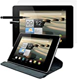 kwmobile® 3in1 set: 360° premium LEATHER CASE for Acer Iconia TAB A1-810-81251G in Black with convenient stand function and Auto Sleep / Wake Up + Skin, crystal clear + Stylus, Black
