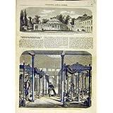 Impresión Antigua del Francés De La Rotonda 1858 de los Baños De Agua Caliente de Santo-Amand