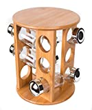 Intriom Bamboo Revolving Spice Rack Set With 12 Glass Spice Jars