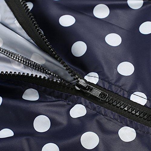 ZEARO Damen Regenmantel Regenjacke Trenchcoat Wasserdicht Parka Regencape Regenponcho, Blau+Weiß Punkten, EU 40-42/(Asian M) -