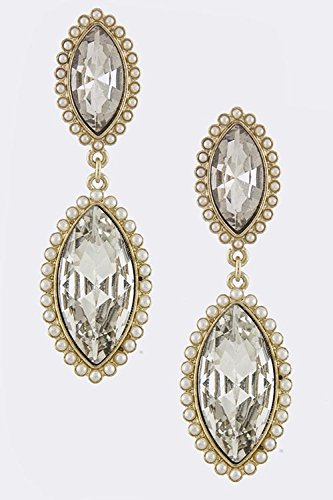 Baubles & Co Pearl Lined Crystal Drop Earrings (Gold) front-1077173