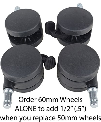 Exercise Ball Chair Upgrade Wheels - Set 4 - Larger, 60mm/2.5