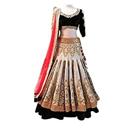 London Beauty Off-white and Coffee Lehenga choli
