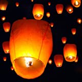 TMS® 50 White Chinese Paper Sky Flying Wishing Lantern Lamp Candle Party Wedding Wish