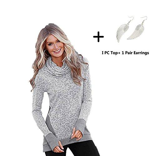 Pullover Sweatshirt, Misaky New Womens Loose Casual Long Sleeve Long Tops Shirt (XL, Gray)