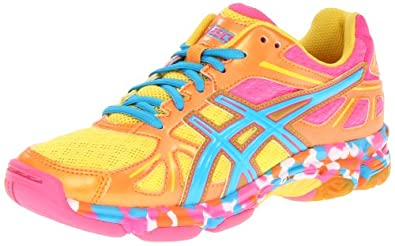 ASICS Women's GEL-Flashpoint Volleyball Shoe,Orange Flame/Neon Blue/Pink,7 M US