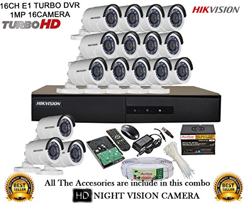 Hikvision CCTV Security System With Turbo 1MP DS-7216HGHI-E1 16CH DVR + DS-2CE16COT-IRP HD Bullet Camera 16pcs + 2TB HDD + Active Cable + Active Power at amazon