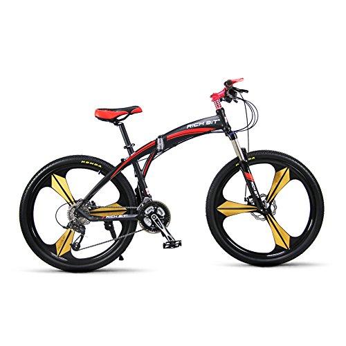 KINGTTU-Richbit-New-601-rot-schwarz-66cm-Mnner-Alu-Klapp-Mountainbike-27-Gang-3-Speichen-Rot