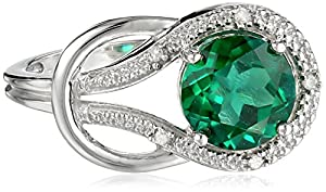 Created Emerald and Diamond Accent Love Knot Ring in 10k White Gold, Size 7