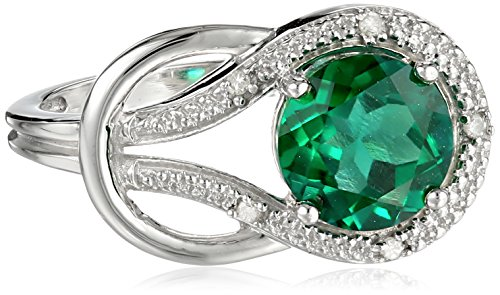 10k White or Yellow Gold Round Created Emerald and Diamond Ring (.03 cttw, I Color, I2 Clarity)